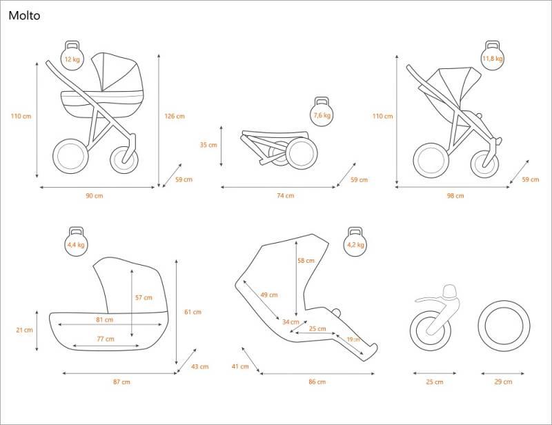 medidas MOLTO carrito de bebe